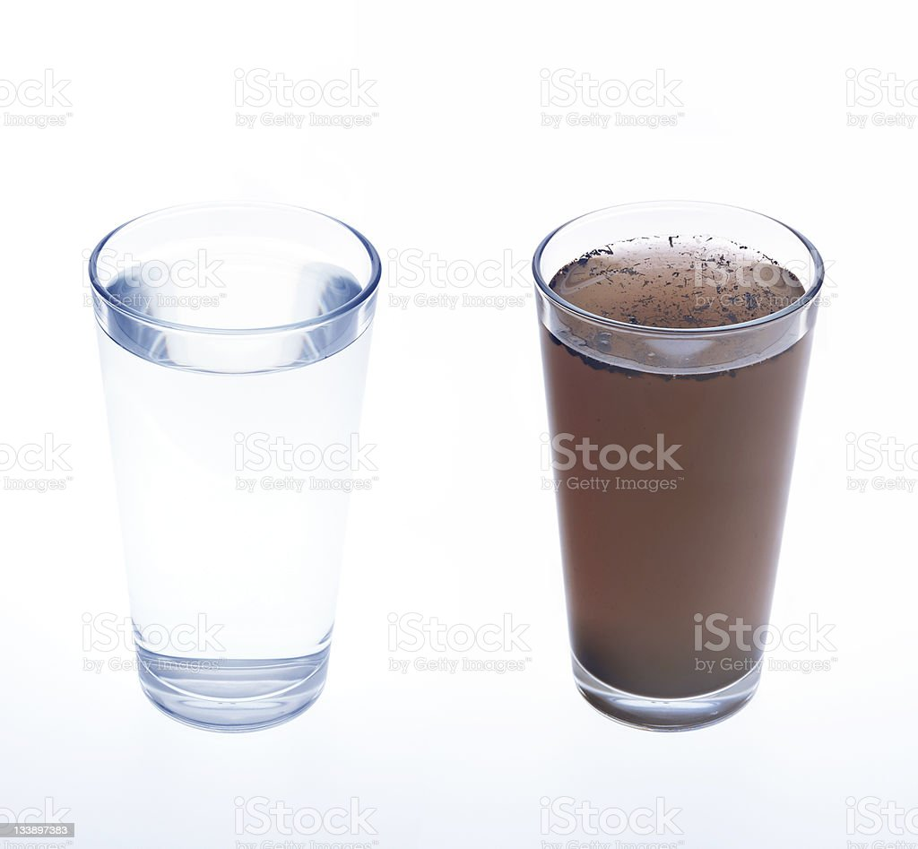 Clean and dirty water in drinking glass - concept stock photo