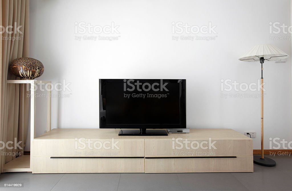 Clean and elegant home interior.TV wall stock photo