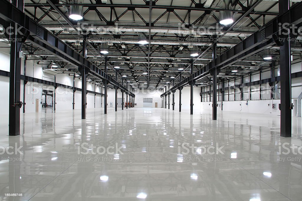 Clean and empty room of modern factory stock photo