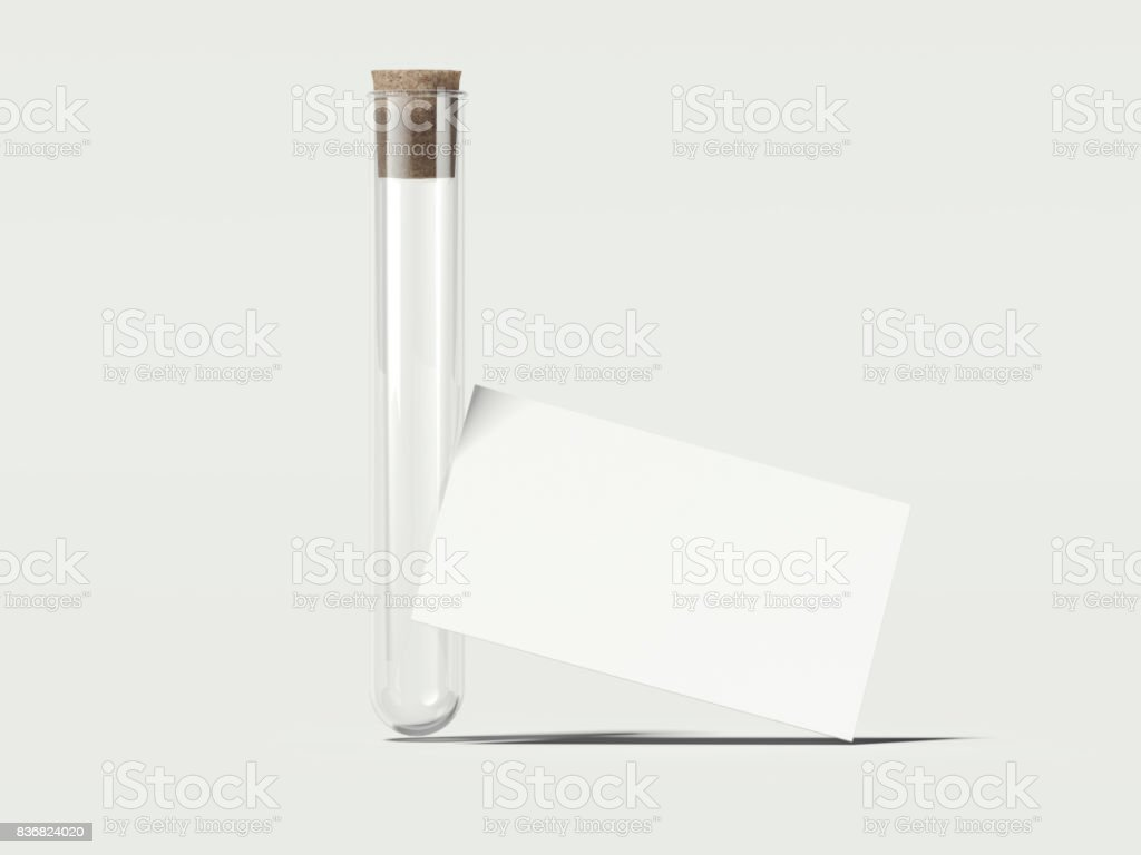 Clean beaker with white business cards. 3d rendering stock photo