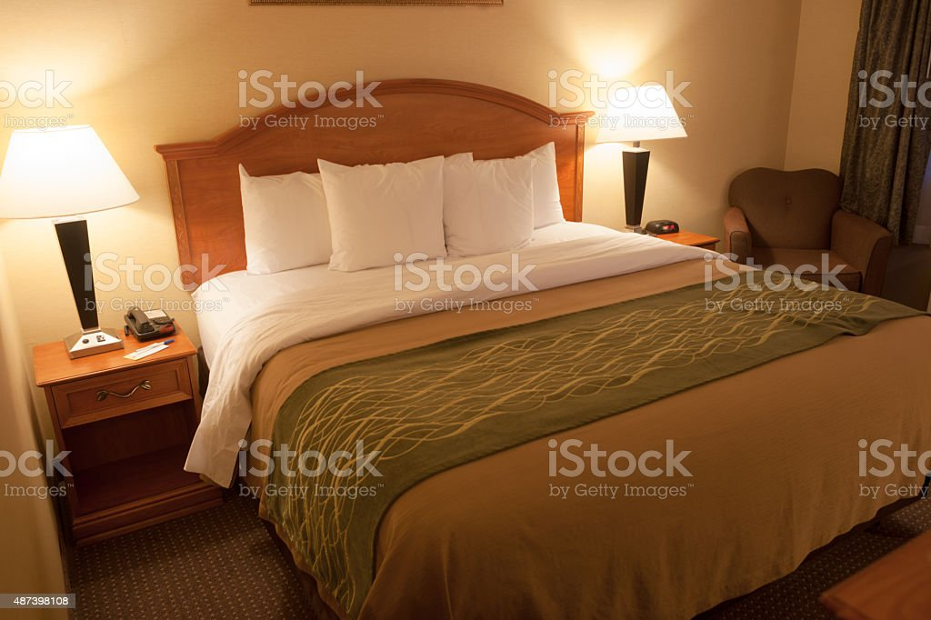 Clean Bedroom King Size Bed Furnished Apartment Room stock photo