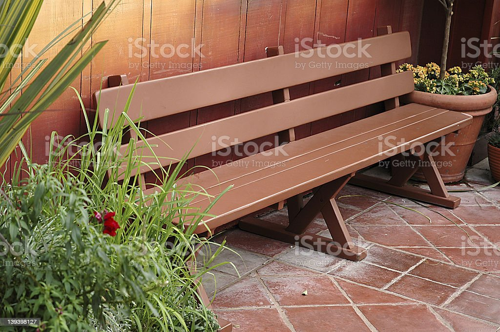 Clean bench outdoors stock photo