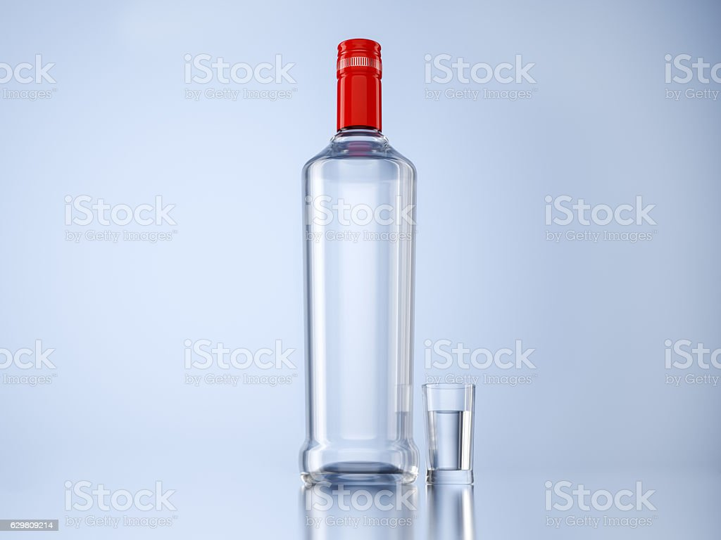 Clean bottle mockup. 3d render and illustration. stock photo