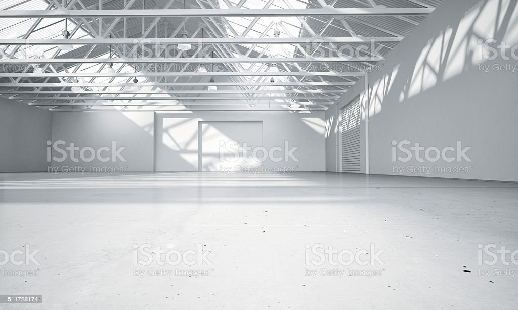 Clean bright warehouse car showroom 3D rendering stock photo
