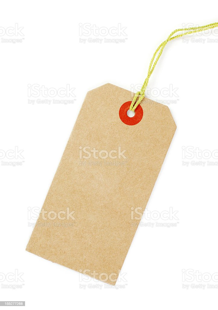 Clean brown Price tag with yellow loop isolated stock photo