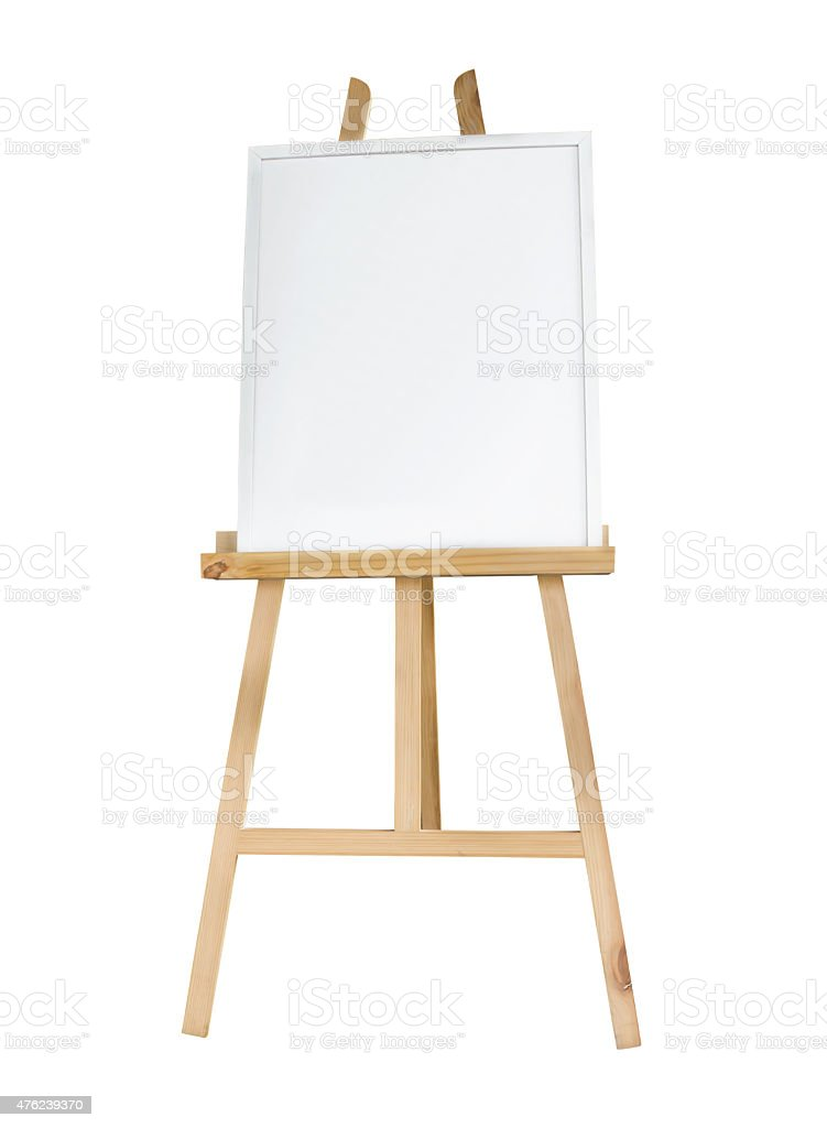 Clean canvas or board on a easel isolated stock photo