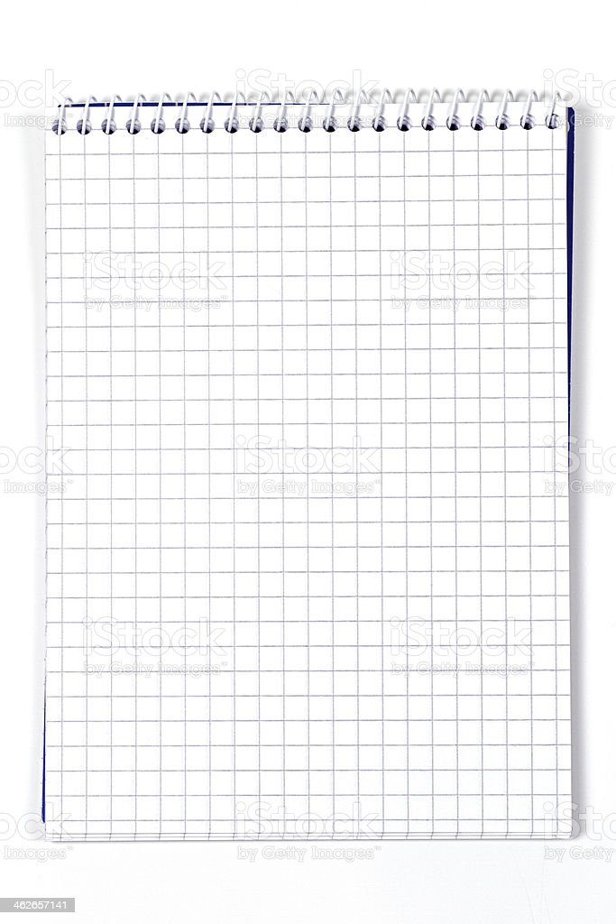 Clean checkered notebook stock photo