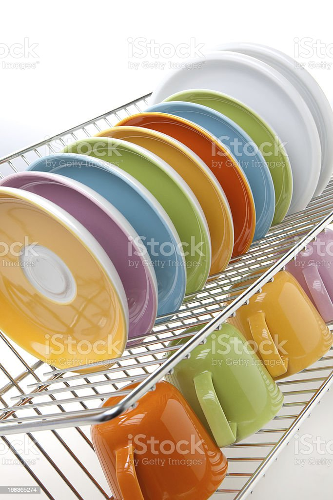 Clean colorful dishes stock photo