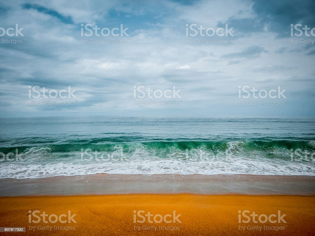 Clean deserted beach on the shore of the Atlantic. Liberia stock photo