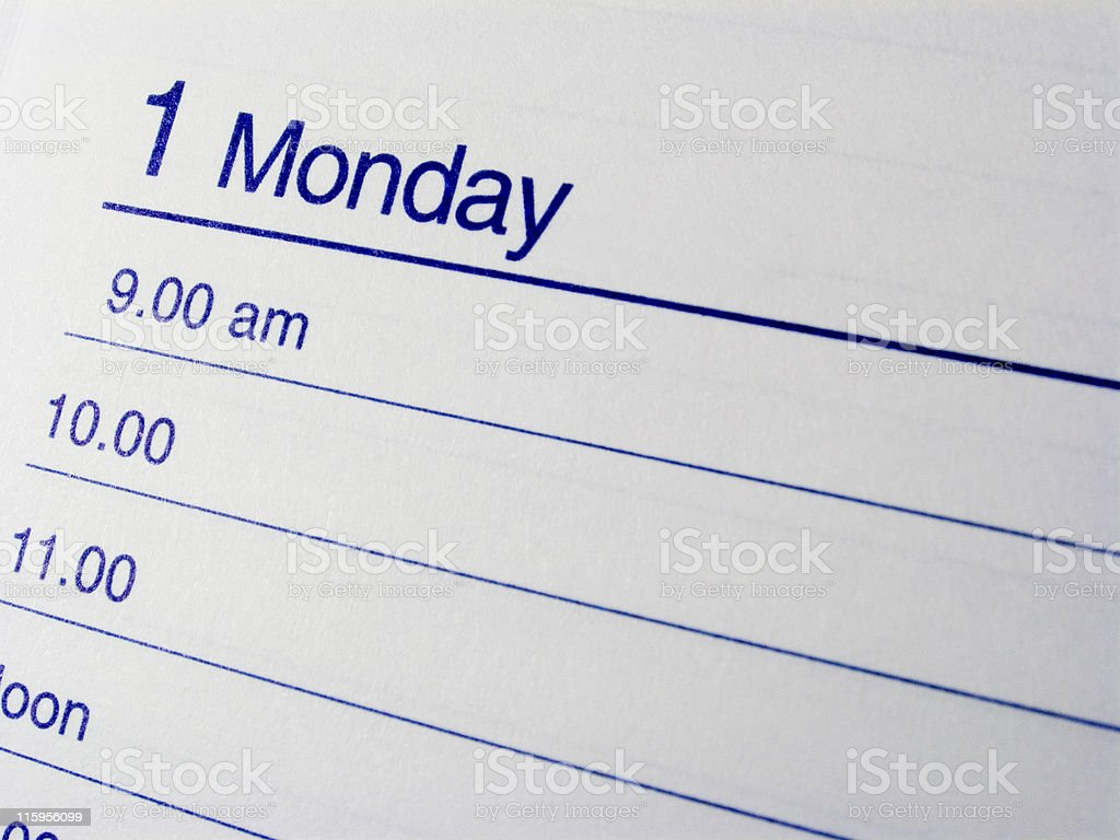 Clean diary page for Monday, with hourly divisions stock photo