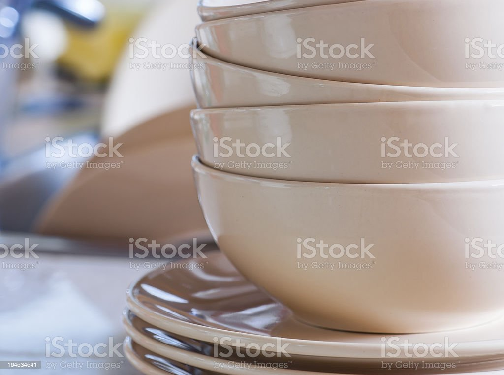 Clean dishes in sink royalty-free stock photo