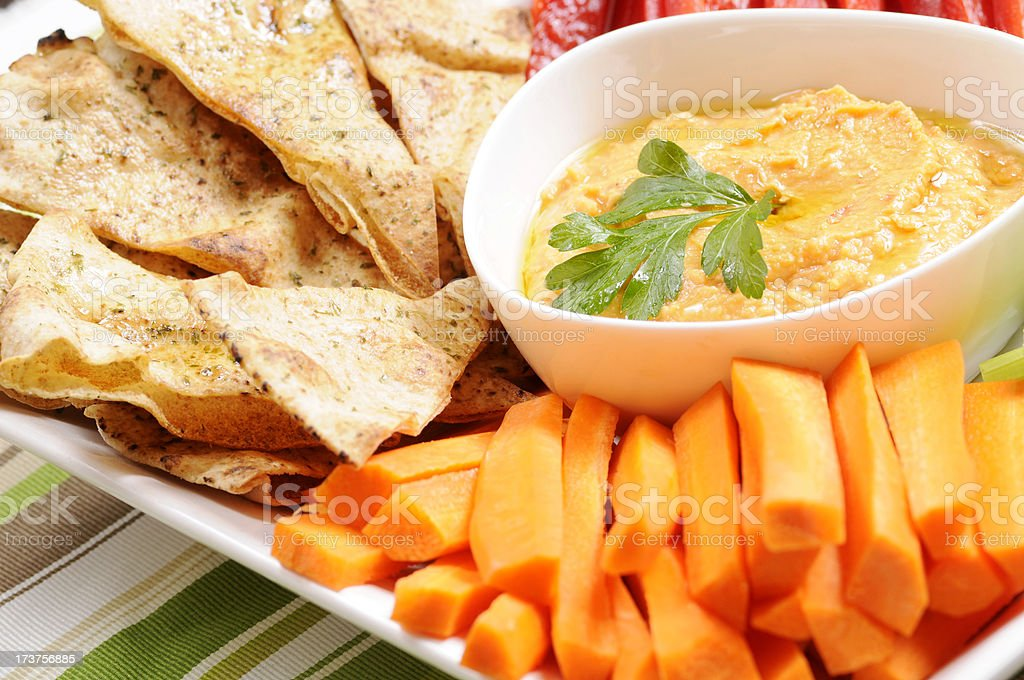 Clean Eating Series: Pita Chips and Red Pepper Hummus stock photo