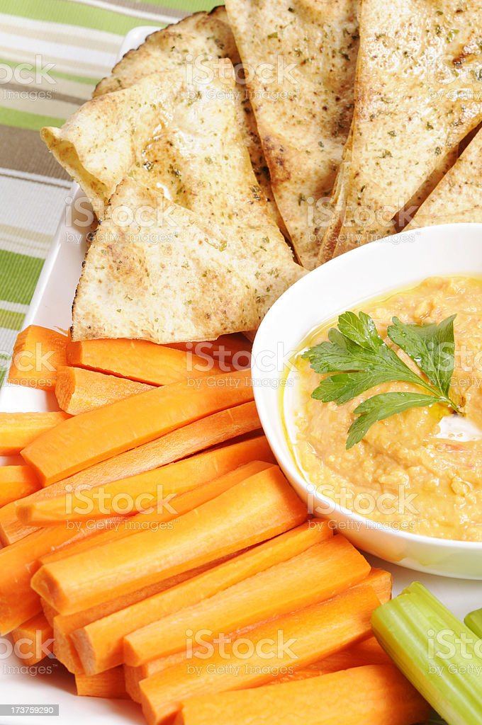 Clean Eating Series: Red Pepper Hummus stock photo