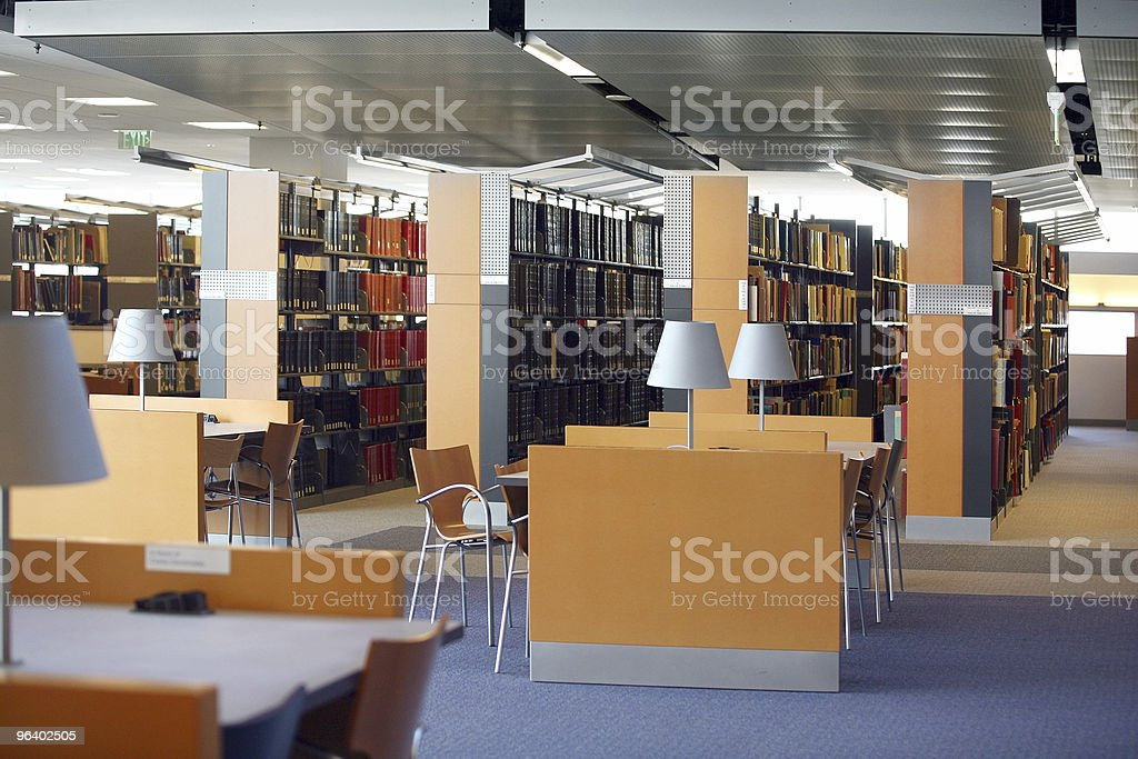 Clean empty modern library with desks royalty-free stock photo