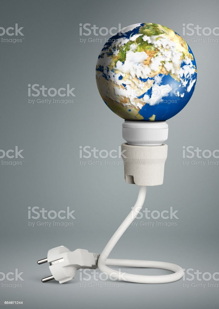 clean energy concept, light bulb with planet Earth and plug stock photo
