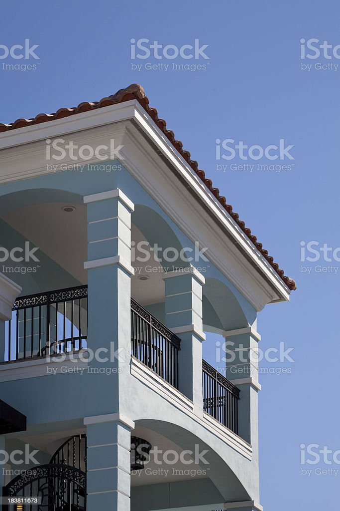 Clean Florida Architecture Against a Clear Blue Sky stock photo