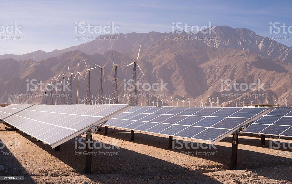 Clean Green Energy Wind Turbines Desert Solar Power stock photo