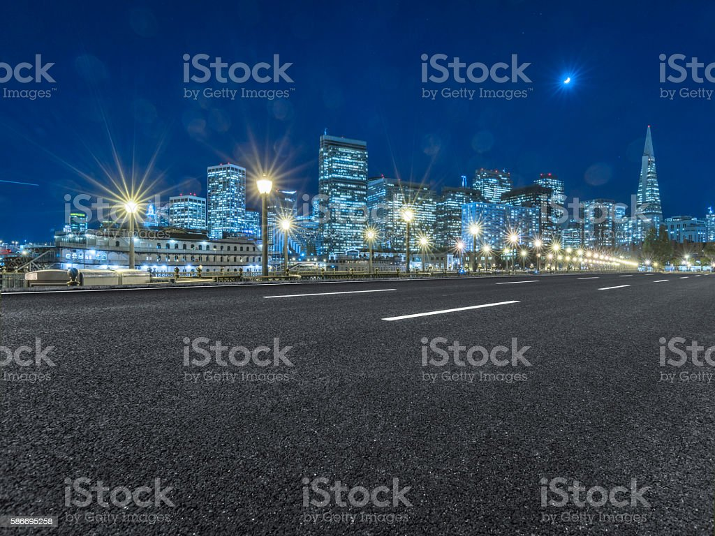 clean highway through downtown stock photo