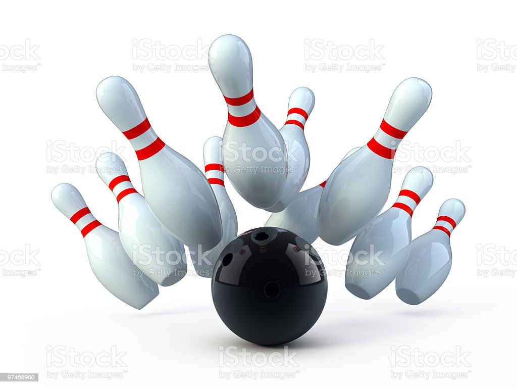 Clean image of a bowling ball striking bowling pins stock photo