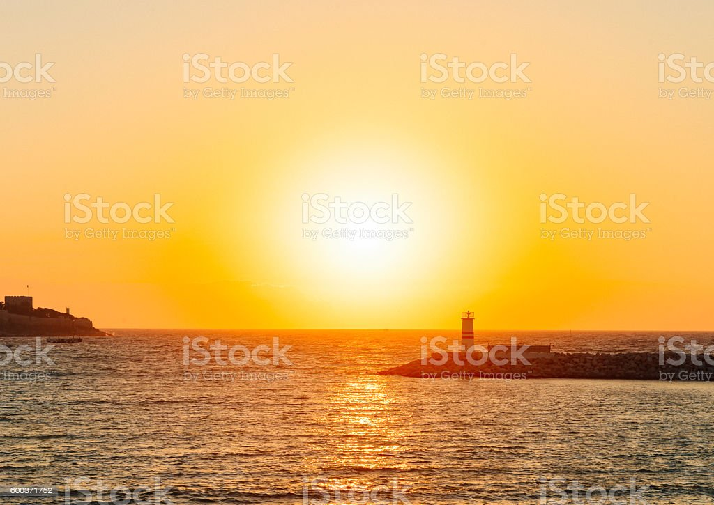 clean image of scenic sunset on the sea royalty-free stock photo