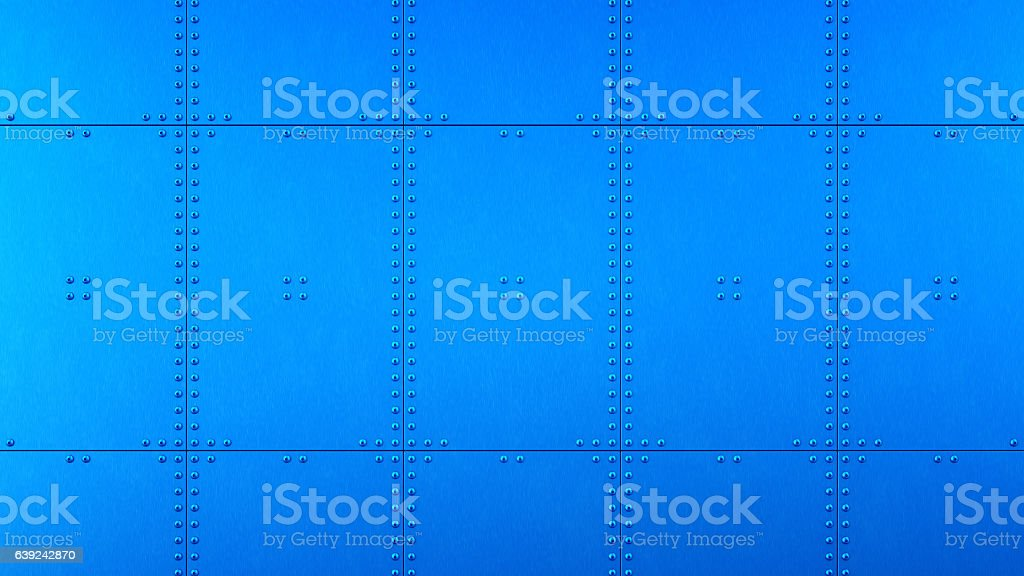Clean Metallic Industrial Wall With Plates And Rivets stock photo