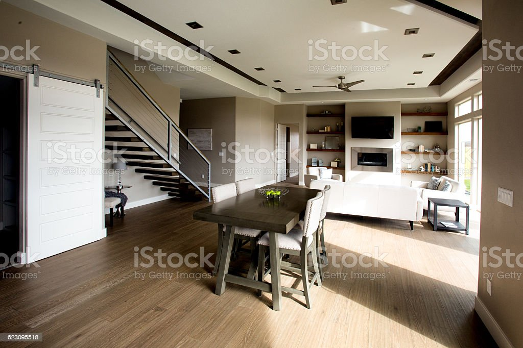 Clean Modern Comfortable New Home Interior Kitchen and Dining Ro stock photo
