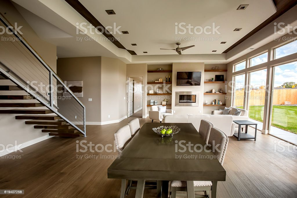 Clean Modern Comfortable New Home Interior Kitchen and Dining Room stock photo