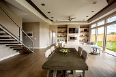 Clean Modern Comfortable New Home Interior Kitchen and Dining Room