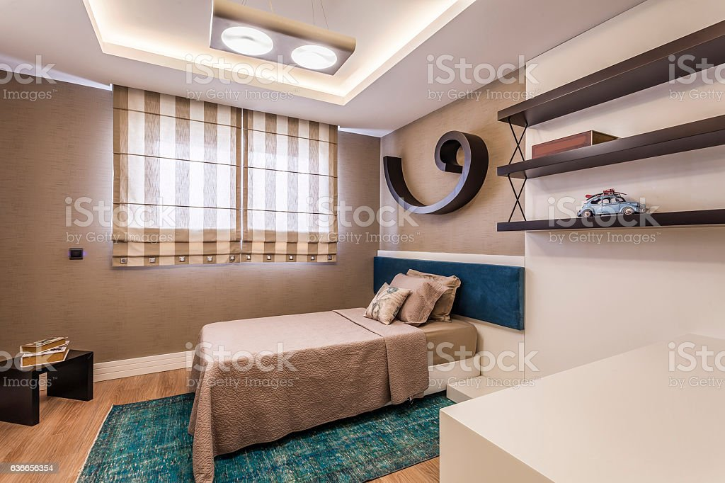 Clean  modern  young kids bedroom stock photo