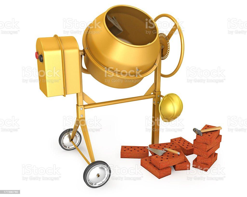 Clean new yellow concrete mixer with helmet stock photo