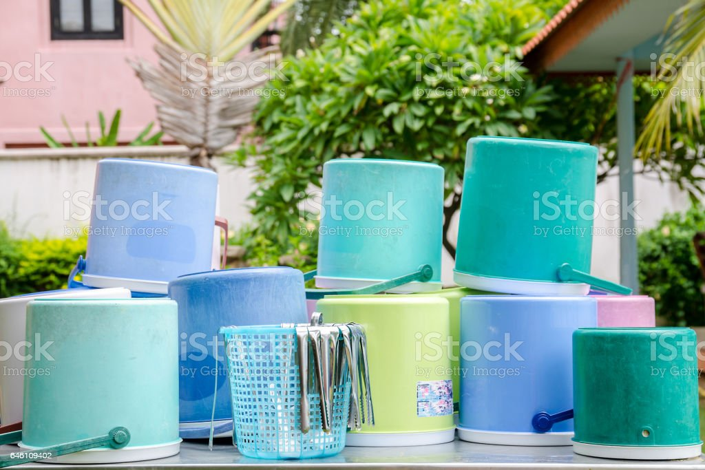 Clean of a lot of plastic ice bucket with dry out stock photo