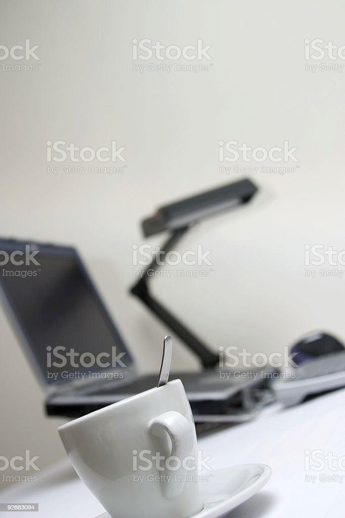 clean office desk with a computer out of focus royalty-free stock photo
