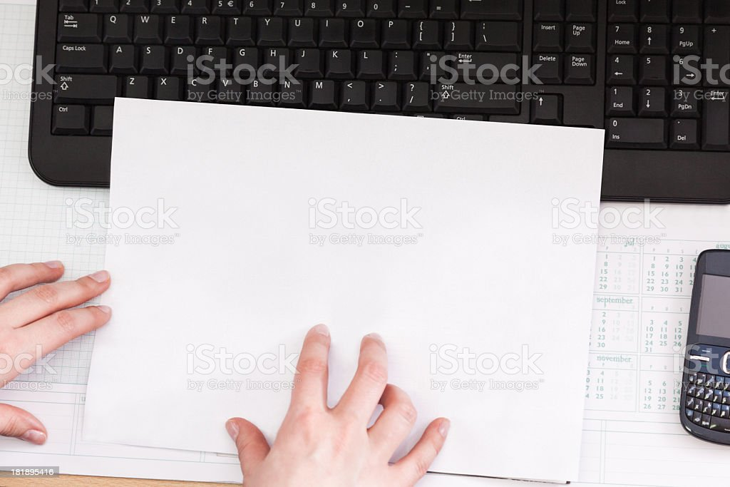 Clean paper and keyboard of a computer royalty-free stock photo