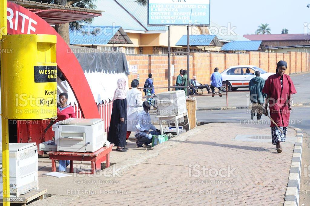 Clean pavement in Kigali, Rwanda stock photo