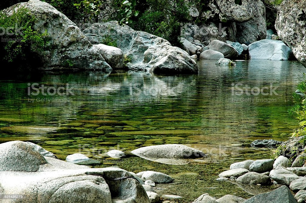 Clean, quiet water stream in Purcaraccia canyon stock photo