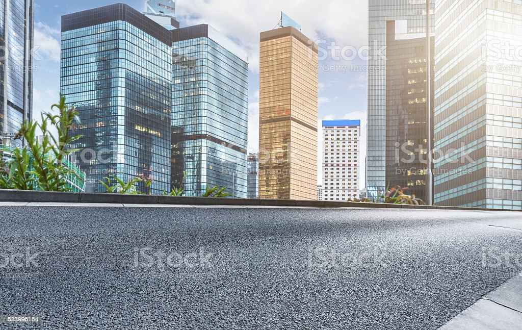 clean road with modern buildings background,hongkong stock photo