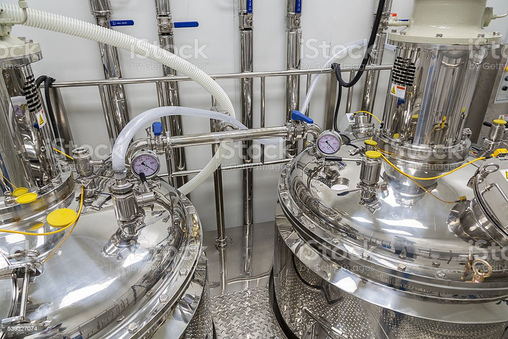 clean room with stainless steel hardware stock photo