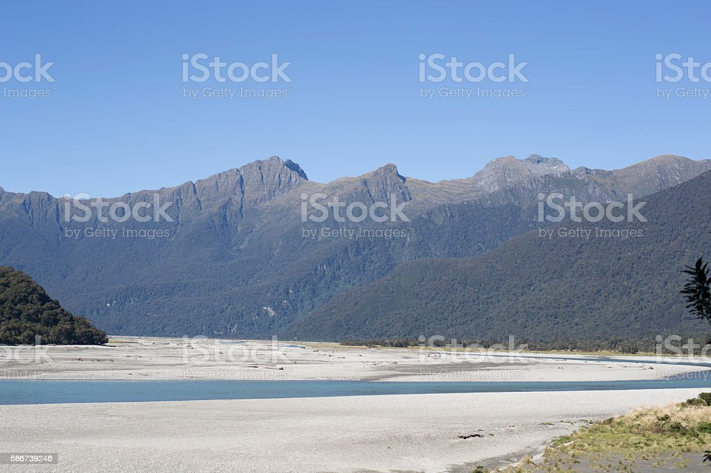 Clean salmon river at Haast Pass,Mount Aspiring National Park stock photo
