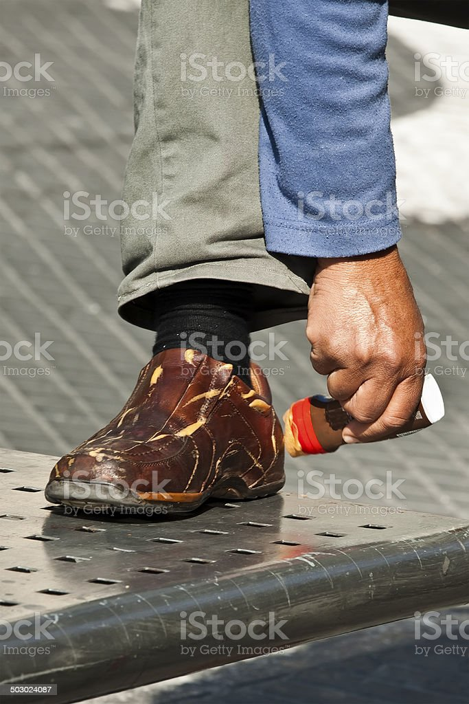 clean shoes stock photo
