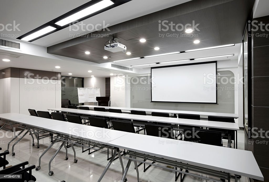 Clean simplicity office conference room interiors stock photo