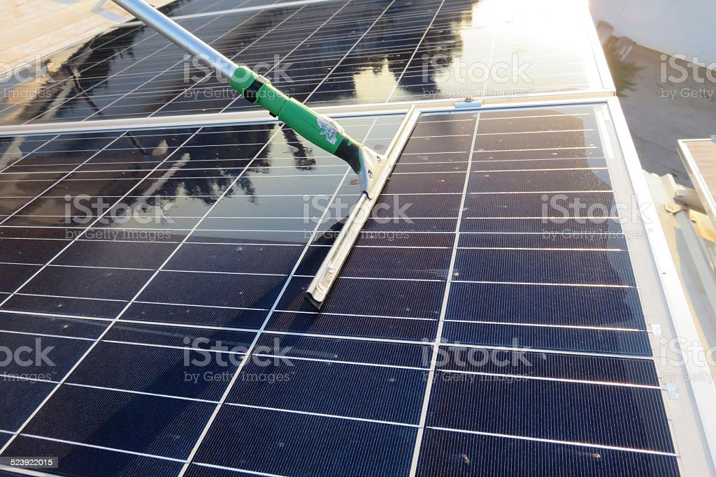 Clean solar panel stock photo