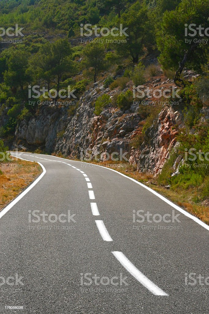 Clean tarmac road in mountains of Spain stock photo