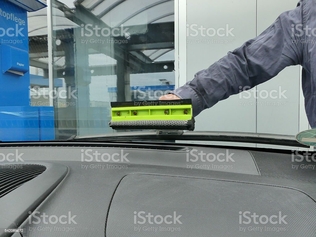 clean the windscreen stock photo