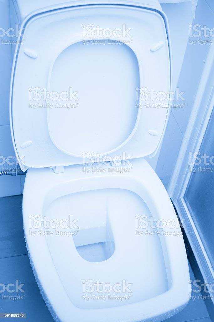 Clean Toilets Bathroom Toilet Seats or Bidets. stock photo