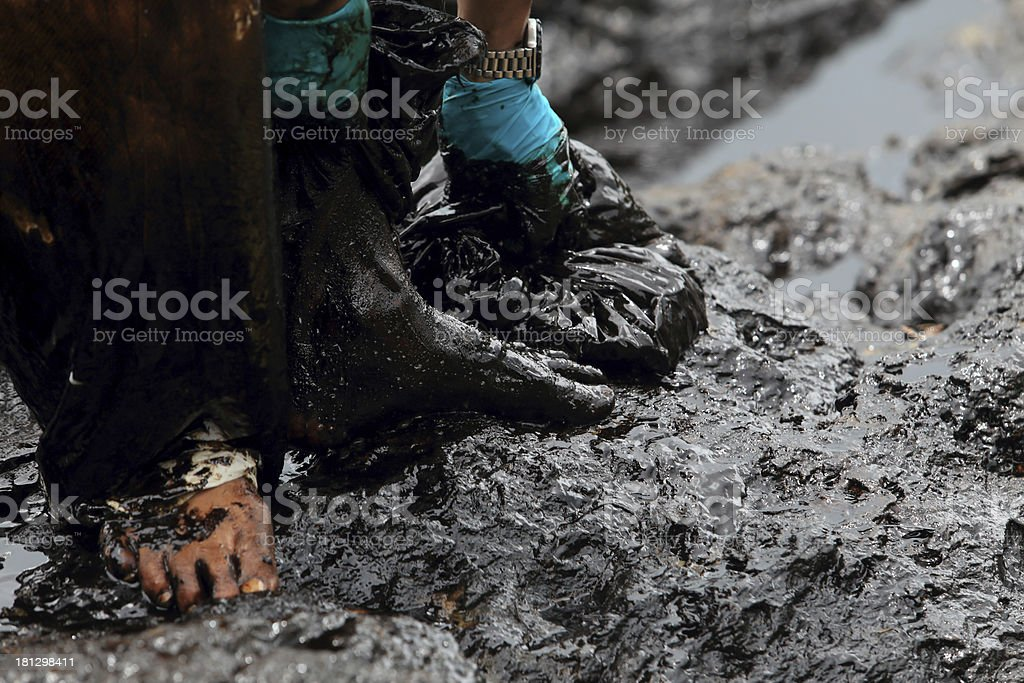 clean up Crude oil stain royalty-free stock photo