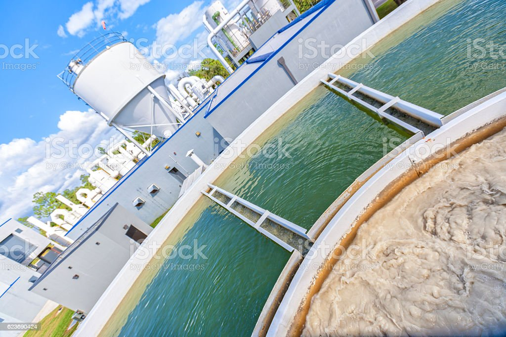 Clean Water Being Created at a Water Plant stock photo