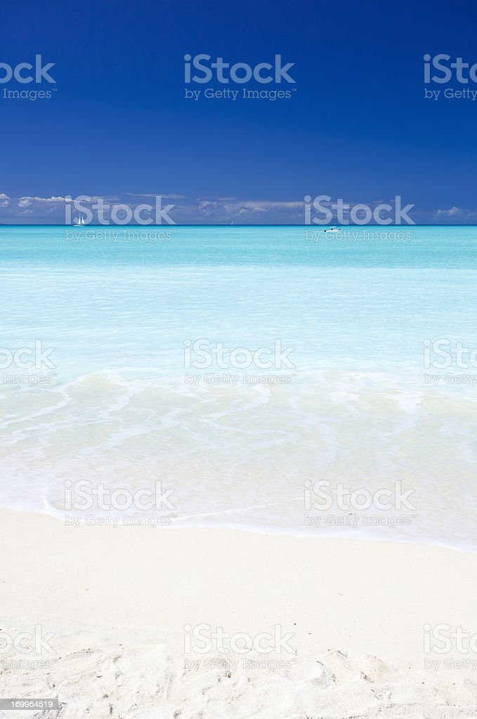 Clean White Caribbean Beach With Blue Sky royalty-free stock photo