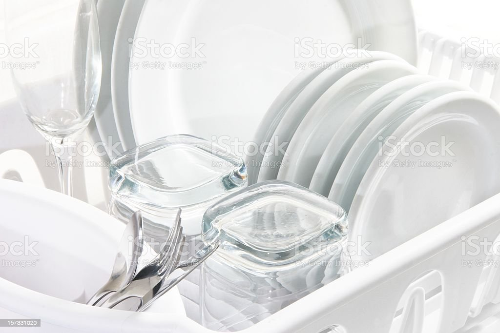 Clean White Dishes, High Key royalty-free stock photo