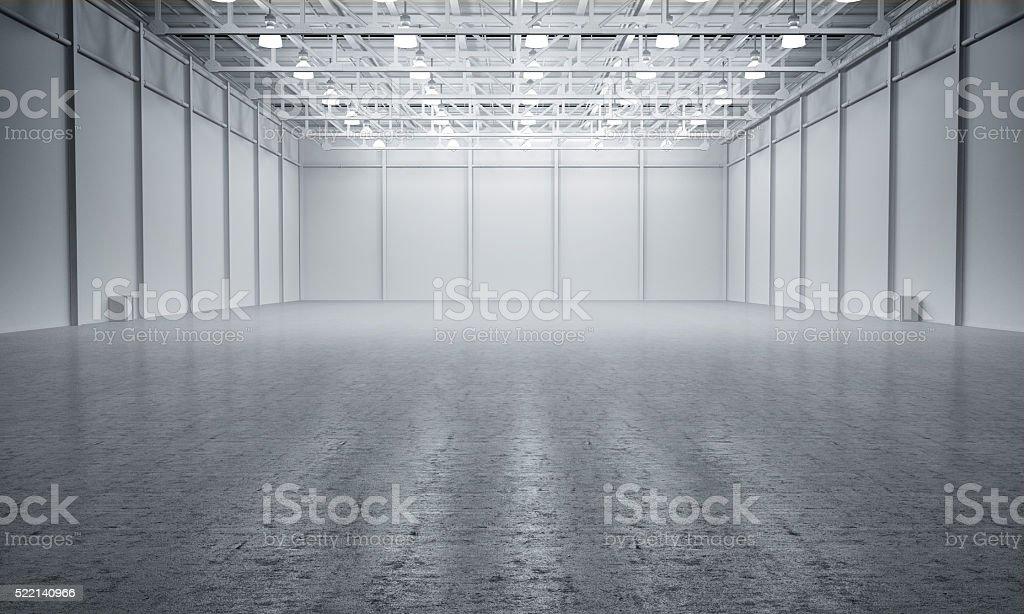 Clean White empty warehouse stock photo
