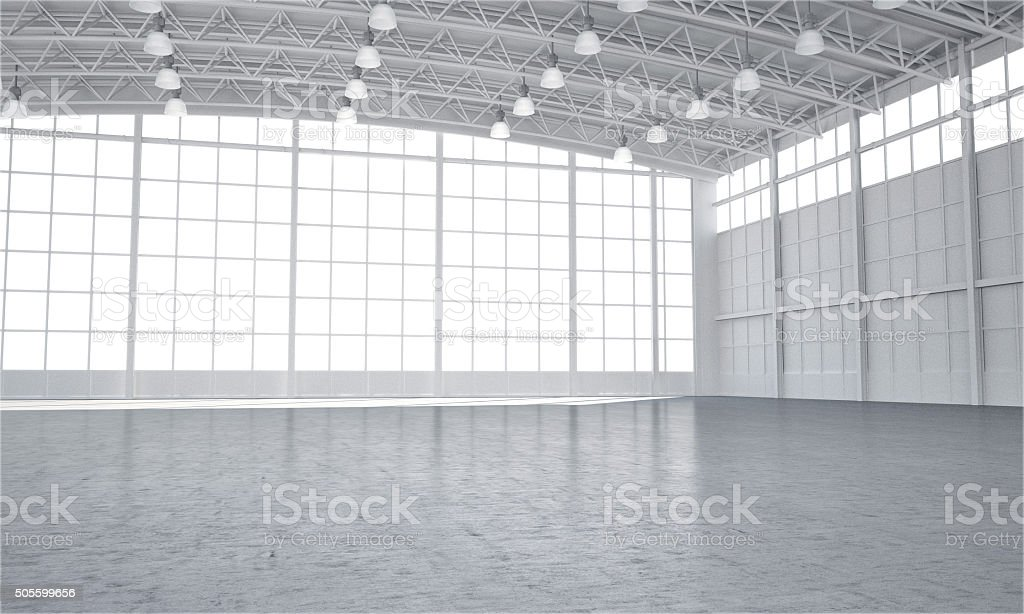 Clean white empty warehouse stage stock photo